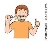 vector of man eating meatball | Shutterstock .eps vector #1163411596