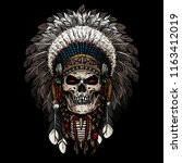 american chief with skull face | Shutterstock .eps vector #1163412019