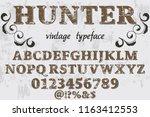 vintage font handcrafted vector ... | Shutterstock .eps vector #1163412553