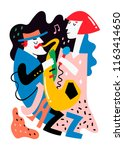 jazz poster. man and woman.... | Shutterstock .eps vector #1163414650