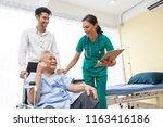 happy older patient on... | Shutterstock . vector #1163416186