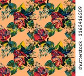 exotic plant seamless pattern.... | Shutterstock . vector #1163416309