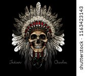 indian skull warrior | Shutterstock .eps vector #1163423143