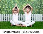 asian chinese little girls... | Shutterstock . vector #1163429086