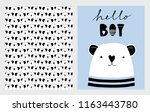 Stock vector hello boy cute hand drawn baby shower vector illustrations set white little bear on a blue 1163443780