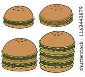 vector set of burger | Shutterstock .eps vector #1163443879
