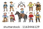 cowboy vector western cow boy... | Shutterstock .eps vector #1163446129
