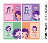 girl power cartoons   Shutterstock .eps vector #1163461003