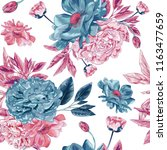 seamless botanical poppy vector ... | Shutterstock .eps vector #1163477659