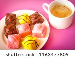 several small cakes  french... | Shutterstock . vector #1163477809