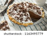sweet homemade french silk pie... | Shutterstock . vector #1163495779
