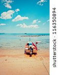 tropical sea, coast and boat in Koh Samui, Thailand - stock photo