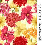 Floral Seamless Wallpaper In...