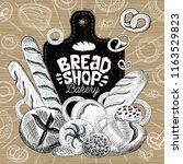 bread shop market  logo design  ... | Shutterstock .eps vector #1163529823