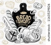 bread shop market  logo design  ... | Shutterstock .eps vector #1163529826