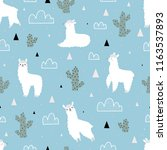 seamless pattern with lamas and ... | Shutterstock .eps vector #1163537893