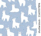 seamless pattern with lamas and ... | Shutterstock .eps vector #1163537896