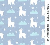 seamless pattern with lamas ... | Shutterstock .eps vector #1163537899
