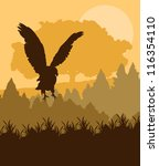 Swooping eagle attacking in forest vector background - stock vector