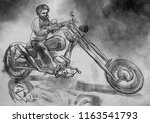 biker. an bearded man and his... | Shutterstock . vector #1163541793