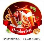 oktoberfest beer festival... | Shutterstock .eps vector #1163542093