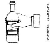 hand with wine bottle drink | Shutterstock .eps vector #1163550346