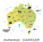 map of australia with cute... | Shutterstock .eps vector #1163551339