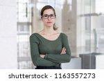 confident business expert... | Shutterstock . vector #1163557273
