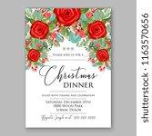 red rose fir branch winter...   Shutterstock .eps vector #1163570656