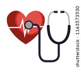 heart cardio with stethoscope | Shutterstock .eps vector #1163573530