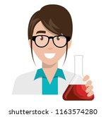 doctor woman with flask test... | Shutterstock .eps vector #1163574280