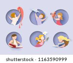 back to school card. children... | Shutterstock .eps vector #1163590999