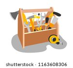 wooden box with tools in the... | Shutterstock .eps vector #1163608306