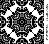black and white seamless floral ... | Shutterstock .eps vector #1163609209