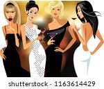 lady cocktail  party  glamorous ... | Shutterstock .eps vector #1163614429