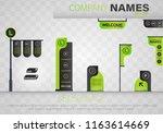 set signage.direction pole ... | Shutterstock .eps vector #1163614669