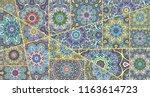 vector patchwork quilt pattern. ... | Shutterstock .eps vector #1163614723