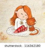 vintage illustration sitting... | Shutterstock . vector #116362180