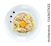 spaghetti carbonara over white... | Shutterstock . vector #1163627623