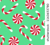 candy cane seamless christmas... | Shutterstock .eps vector #1163653780
