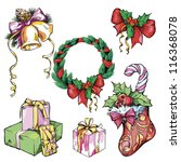 christmas sketches drawn by hand | Shutterstock .eps vector #116368078