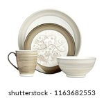luxury ceramic dinner set ... | Shutterstock . vector #1163682553