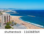 Barceloneta beach in Barcelona, Spain - stock photo