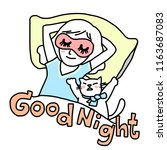 girl wearing funny sleeping eye ...   Shutterstock .eps vector #1163687083