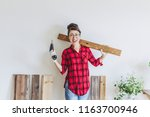 asian woman and diy tools | Shutterstock . vector #1163700946