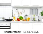 Stock photo modern kitchen at home with healthy food 116371366