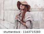 boho jewelry on model  ethnic... | Shutterstock . vector #1163715283