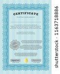 light blue awesome certificate... | Shutterstock .eps vector #1163718886