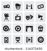 vector black movie icons set on ... | Shutterstock .eps vector #116372650