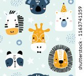 Stock vector seamless childish pattern with funny animals faces creative scandinavian kids texture for fabric 1163741359